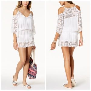 NWT Raviya Cold Shoulder White with Lace Coverup